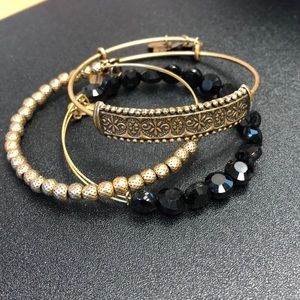 Set of 3 Gold, Black Bead Alex and Ani Bracelets